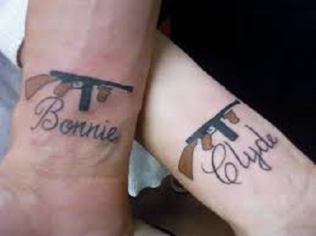 bonnie and clyde matching couple tattoo