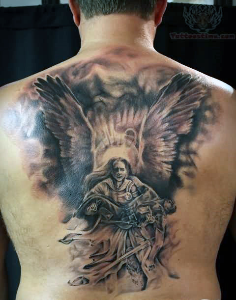 boy and guardian angel tattoo for men