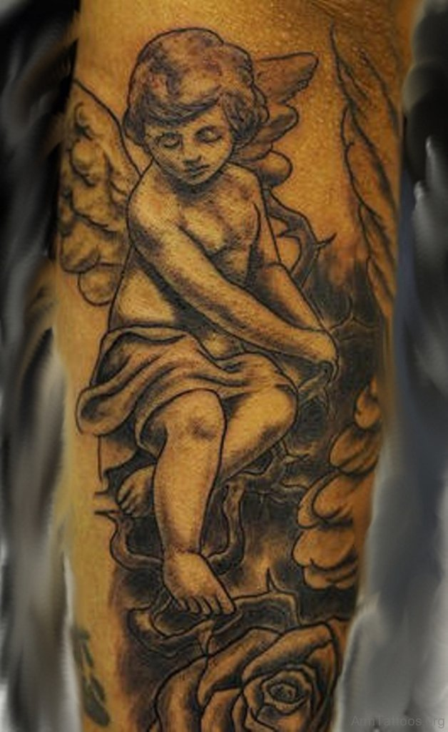 cherbub guardian angel tattoo for men