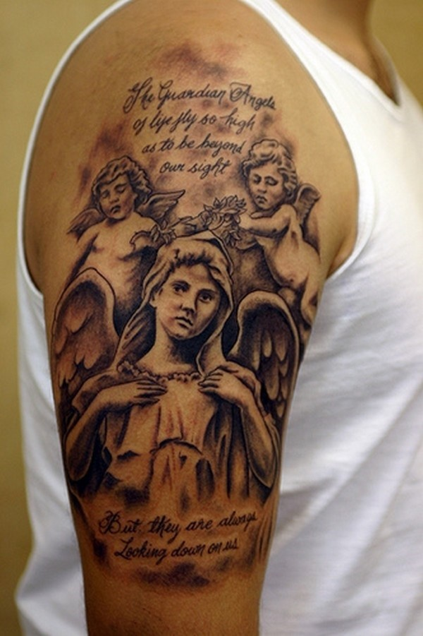 cherubs and guardian angel tattoo for men