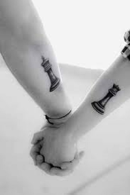 chess pieces matching couple tattoo