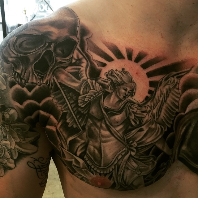 chest guardian angel tattoo for men