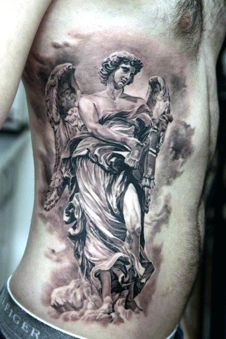 classical guardian angel tatoo for men
