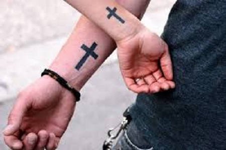 crosses matching couple tattoo