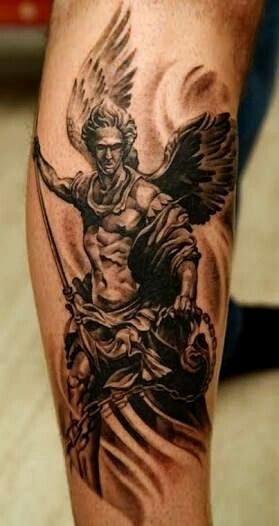 fierce guardian angel tattoo for men