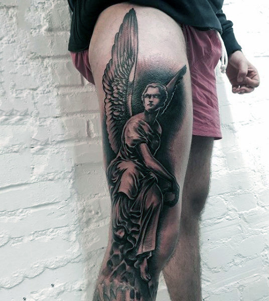 full leg guardian angel tattoo for men