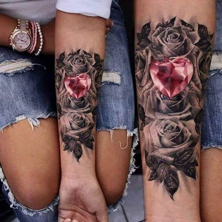 heart and rose matching couple tattoo