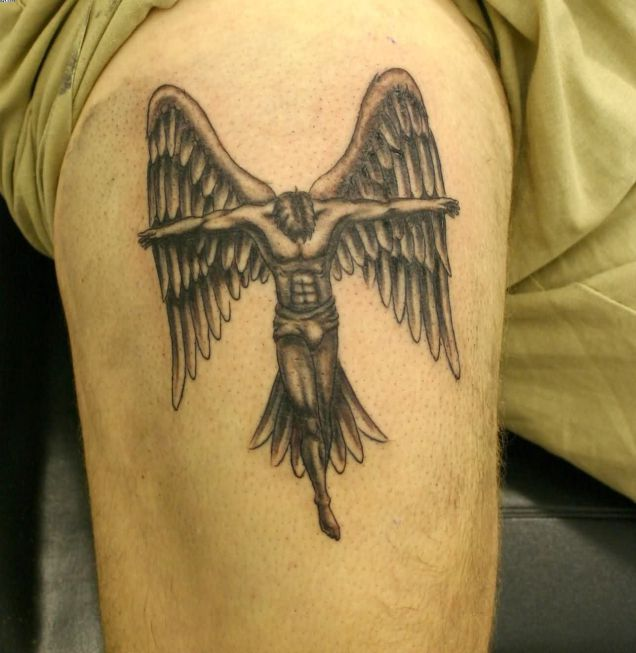leg guardian angel tattoo for men