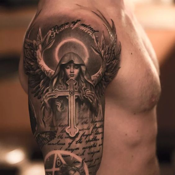 powerful guardian angel tattoo for men