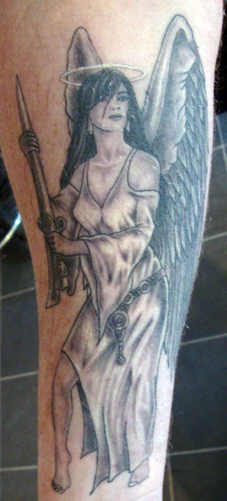 pretty lady guardian angel tattoo for men