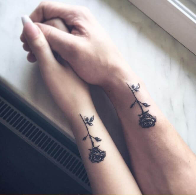 roses matching couple tattoo