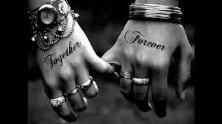 together forever matching couple tattoo