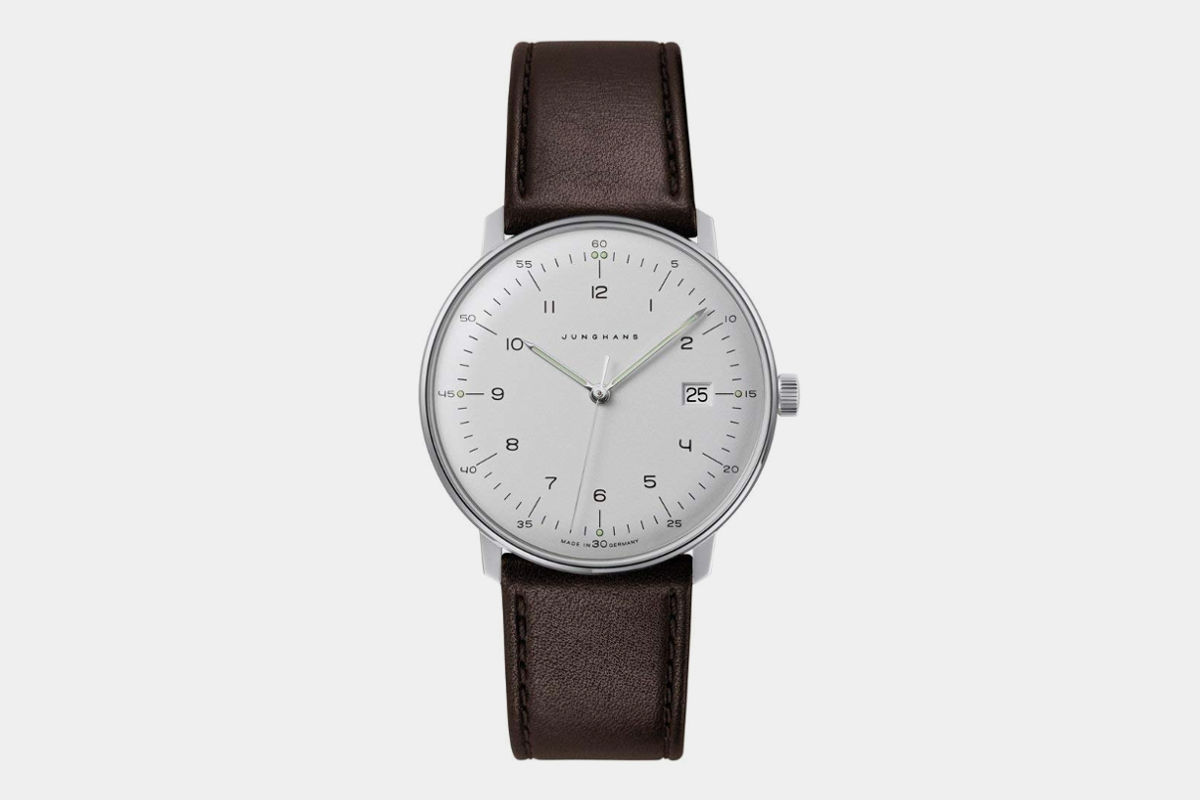 Junghans Men's 'Max Bill' Quartz Stainless Steel and Leather Dress Watch