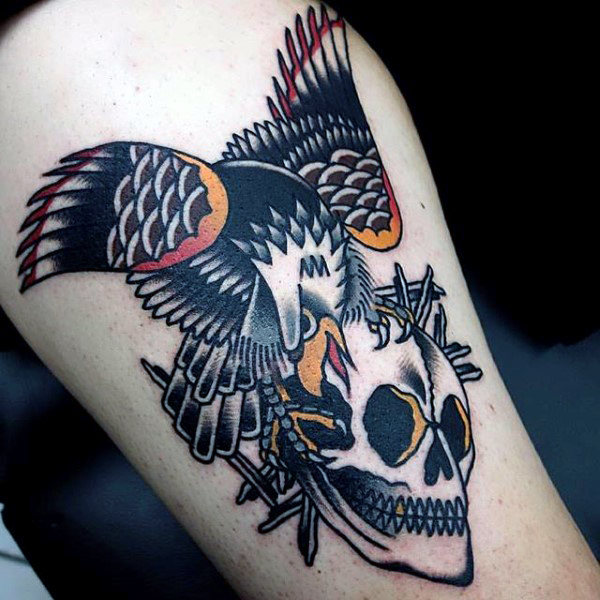 Black Eagle and Skull Tattoo with Subtle Hints of Color