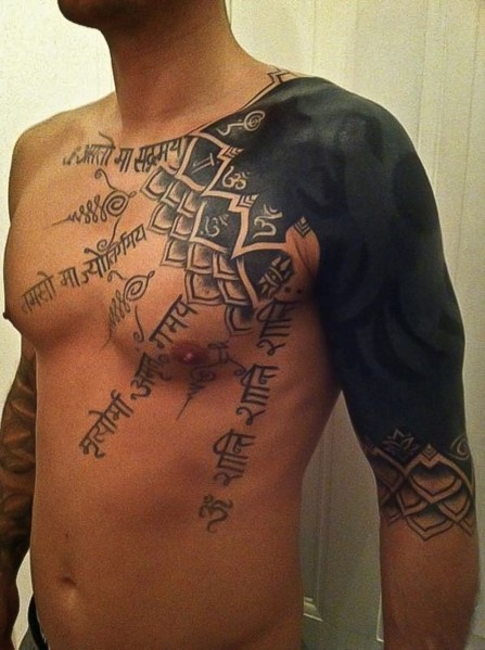 Shaded-In Shoulder Tattoo