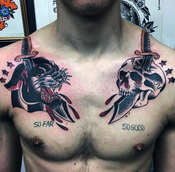Similar Yet Different Upper Chest Tattoo Pieces