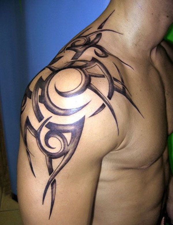 Spherical and Spiked Shoulder Tattoo