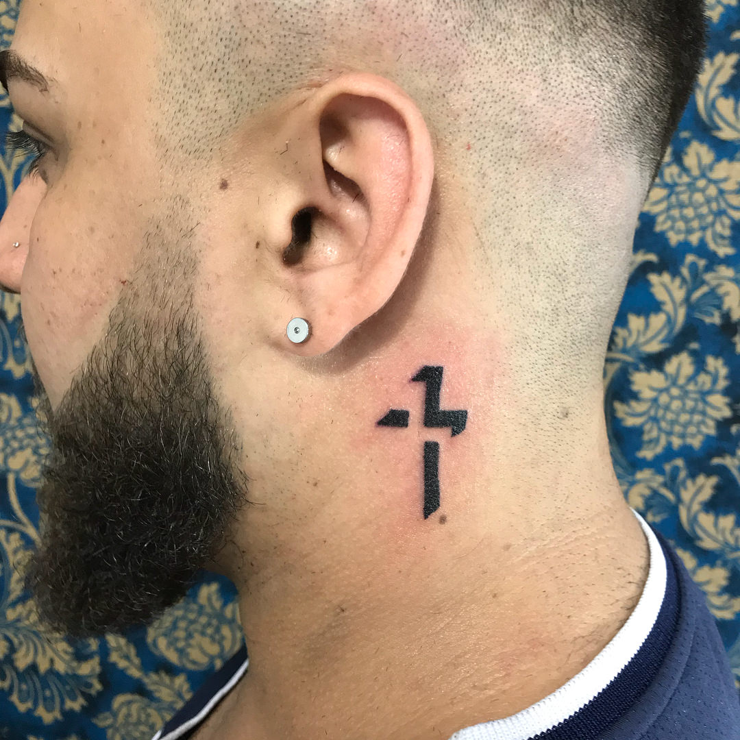 3D Cross Neck Tattoo