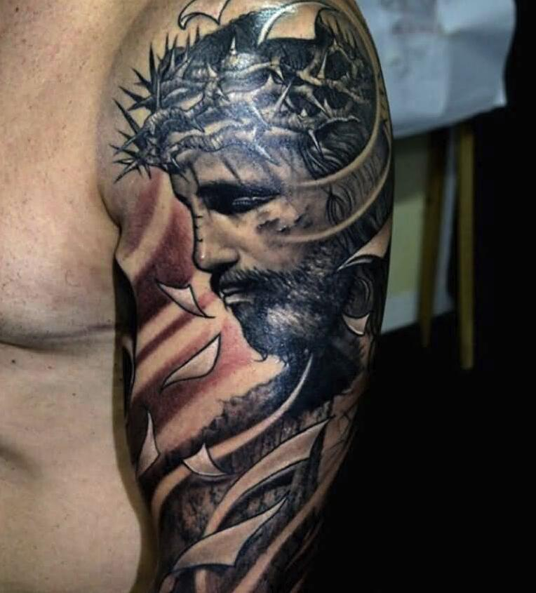 Arm Piece of Jesus Looking Solemn
