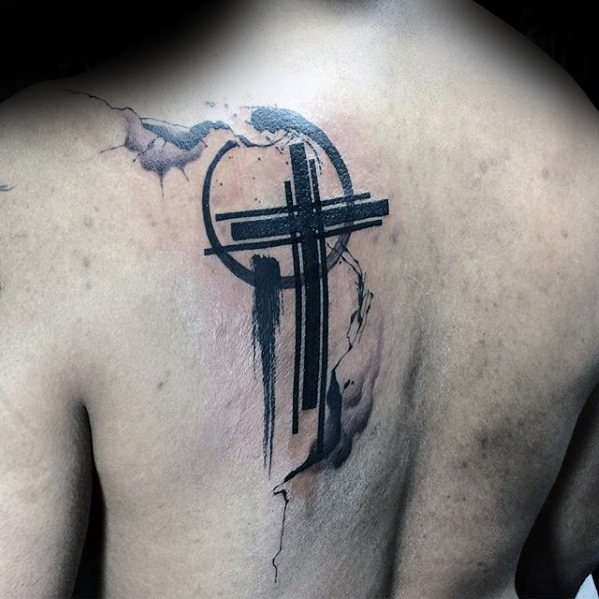 Black Ink Paintbrush Cross Tattoo for Men