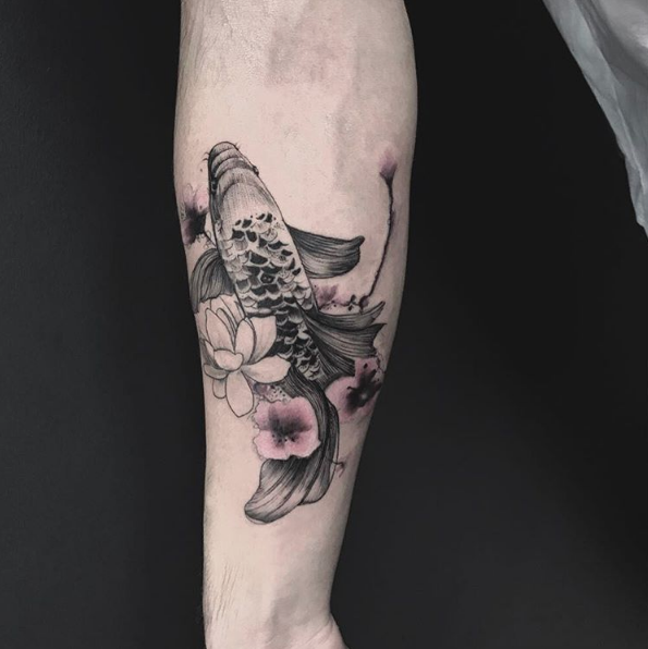 Black Koi Fish with Pink Flowers