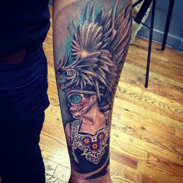 Colorful Feathered Female Warrior Piece