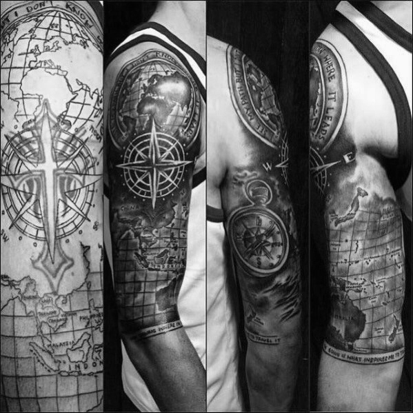 Compass and World Map Cover Up idea