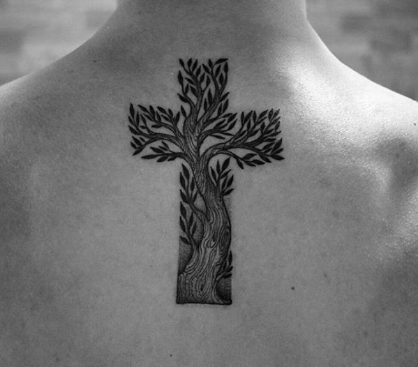 Cross Tattoo Made from Olive Tree Branches