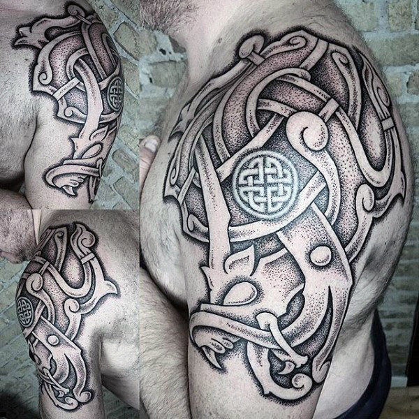 Incredibly Detailed Nordic Seal of Arms Tattoo Idea for Men