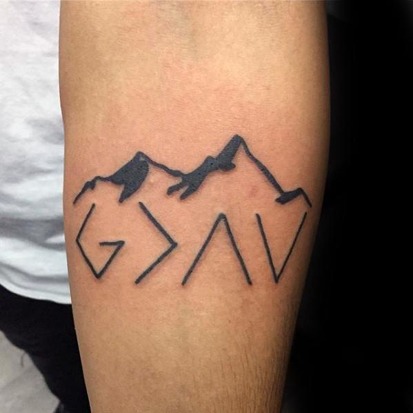 Mountains over GIGTTHATL Religious Symbolic Tattoo