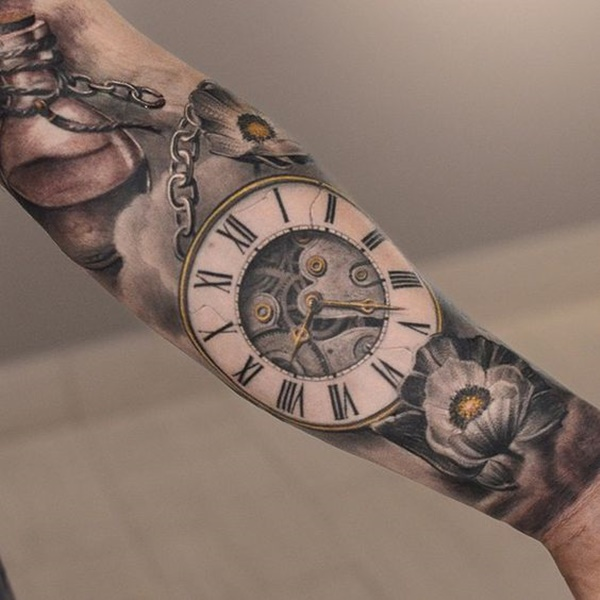 Negative Space Black and Yellow Clock Tattoo