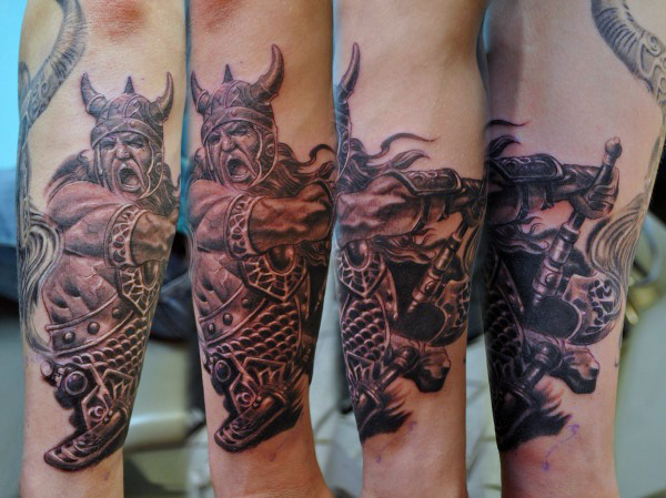Nordic God Fighting in War Forearm Piece