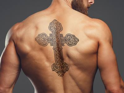 Religious Cross Back Tattoo Idea for Men