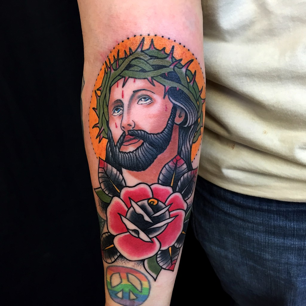 Eye Catching Traditional Colorful Jesus Forearm Tattoo