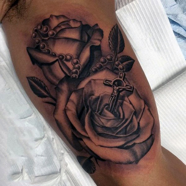Rose and Rosary Forearm Tattoo for Men