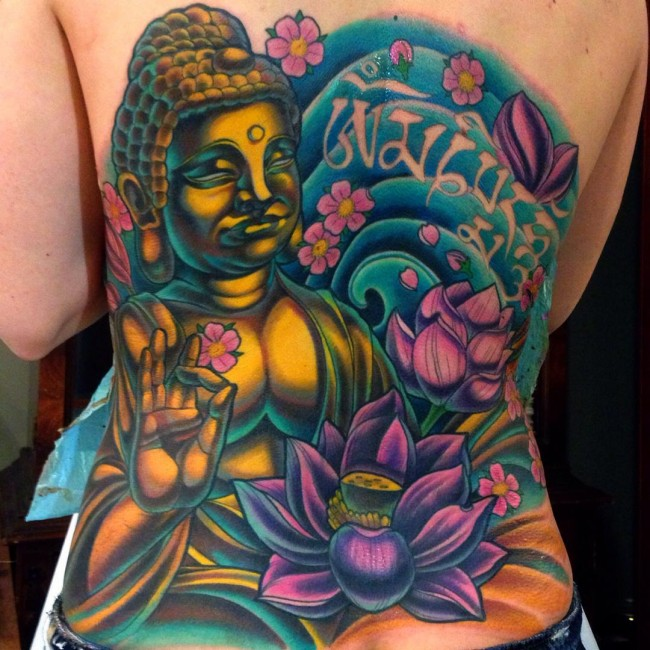 Vibrant Lotus Flower Buddha Back Tattoo Idea for Men