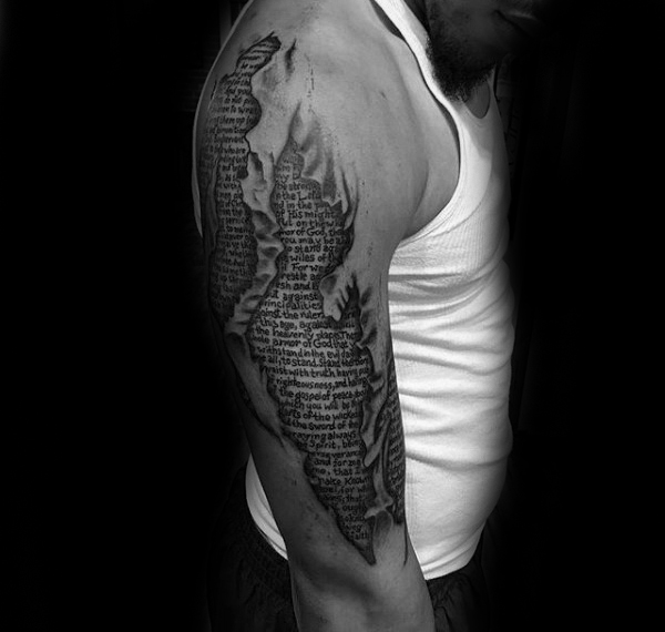 Bible Tattoo Designed to Look Like It's Under Your Skin