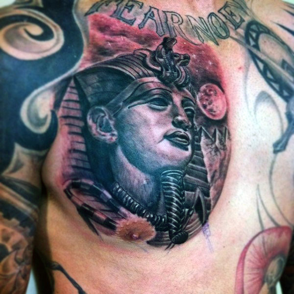 Brick Red and Black Shaded Egyptian Pharaoh Chest Piece for Men