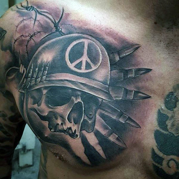 Chest Tattoo Idea of a Skull Wearing a Military Hat with a Peace Sign