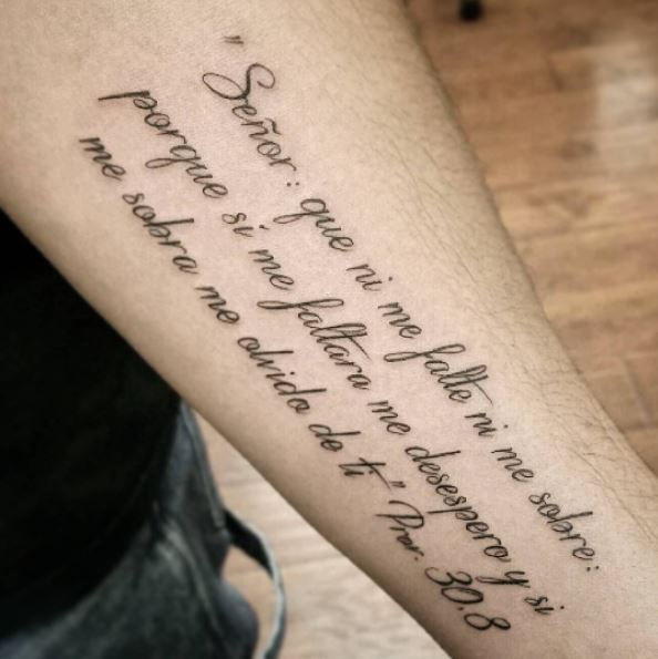 Inner Forearm Spanish Bible Quote Tattoo