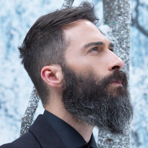 Let Your Greys Shine Through with a Natural Hair and Beard Look