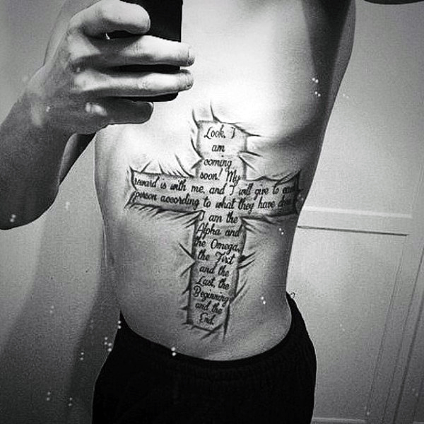 Lower Side of Body Cross and Verse Tattoo Idea for Men