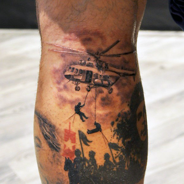 Military Helicopter Letting Soldiers Drop Down to the Battlefield Tattoo Idea
