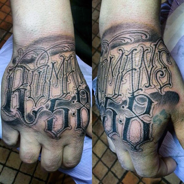 Outer Hand Romans Bible Tattoo Suggestion