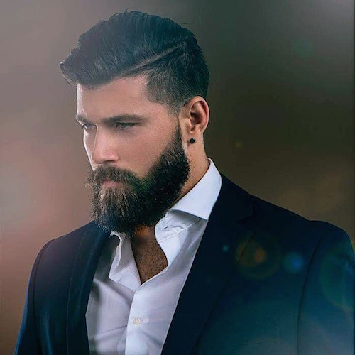 Professional Combover Hairstyle with Well-Kept Beard