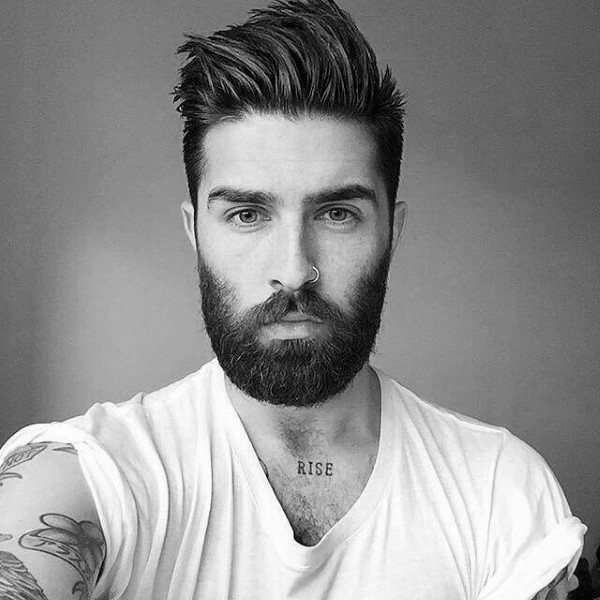 Spiked Up Hair Paired with a Closely Trimmed Beard