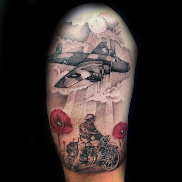 Tattoo Showing Imagery of Soldier in a Field of Poppies