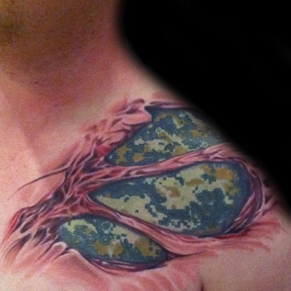 Upper Collarbone Tattoo Idea of Skin Pulling Away and Revealing the Army Design Underneath