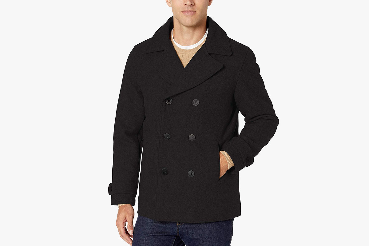 Amazon Essentials Men's Wool Blend Heavyweight Peacoat