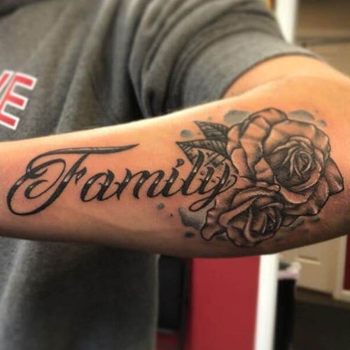 Family First Rose Forearm Tattoo Design